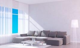 Interior brillante moderno con el marco vacío 3D que rinde el sitio del ejemplo 3D, escandinavo, sofá, espacio, encima de, pared, Fotos de archivo libres de regalías