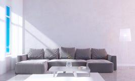Interior brillante moderno con el marco vacío 3D que rinde el sitio del ejemplo 3D, escandinavo, sofá, espacio, encima de, pared, Fotografía de archivo libre de regalías