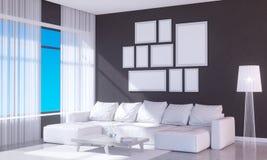 Interior brillante moderno con el marco vacío 3D que rinde el sitio del ejemplo 3D, escandinavo, sofá, espacio, encima de, pared, Fotos de archivo