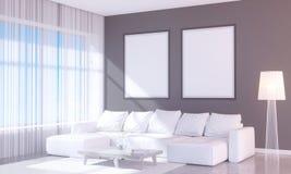 Interior brillante moderno con el marco vacío 3D que rinde el sitio del ejemplo 3D, escandinavo, sofá, espacio, encima de, pared, Imagen de archivo