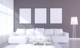 Interior brillante moderno con el marco vacío 3D que rinde el sitio del ejemplo 3D, escandinavo, sofá, espacio, encima de, pared, Imagenes de archivo