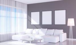 Interior brillante moderno con el marco vacío 3D que rinde el sitio del ejemplo 3D, escandinavo, sofá, espacio, encima de, pared, Foto de archivo libre de regalías