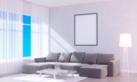 Interior brillante moderno con el marco vacío 3D que rinde el sitio del ejemplo 3D, escandinavo, sofá, espacio, encima de, pared, Imágenes de archivo libres de regalías
