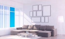 Interior brillante moderno con el marco vacío 3D que rinde el sitio del ejemplo 3D, escandinavo, sofá, espacio, encima de, pared, Foto de archivo