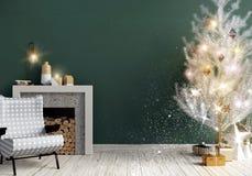 Interior brillante moderno con la chimenea, s escandinavo de la Navidad ilustración del vector