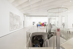 Interior of The Broad Contemporary Art Museum. LOS ANGELES, CALIFORNIA - JULY 5, 2016: The Broad, a contemporary art museum in Los Angeles, California, home to Stock Image