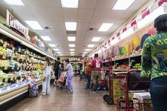 Interior of a Brooklyn supermarket in New York City, USA royalty free stock photography