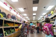 Interior of a Brooklyn supermarket in New York City, USA royalty free stock photo