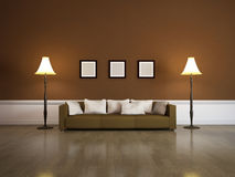 The interior of with brown sofa Royalty Free Stock Photography
