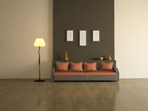 The interior of with brown sofa Stock Images