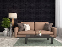 Interior with brown sofa and breack wall. 3d illustration Stock Image