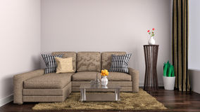 Interior with brown sofa. 3d illustration Stock Photography