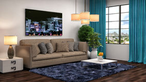 Interior with brown sofa. 3d illustration Royalty Free Stock Photography