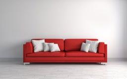 Interior with brown sofa. 3d illustration Stock Photos