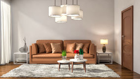 Interior with brown sofa. 3d illustration Stock Photos