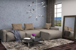 Interior with brown sofa. 3d illustration Royalty Free Stock Photo