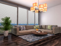 Interior with brown sofa. 3d illustration Royalty Free Stock Photos