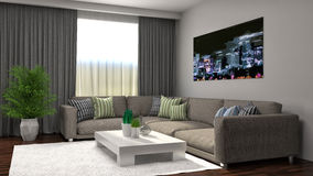 Interior with brown sofa. 3d illustration Royalty Free Stock Image