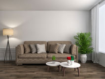 Interior with brown sofa. 3d illustration Stock Images