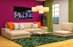 Interior with brown sofa. 3d illustration Stock Image