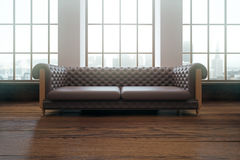 Interior with brown sofa Royalty Free Stock Images