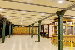 Interior of the Budapest historic first line of metro (subway) station Royalty Free Stock Image