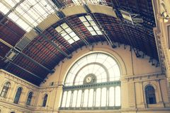 The interior of Budapest Keleti railway station. The building was designed in eclectic style and constructed between 1881 and 1884 as one of the most modern royalty free stock photography