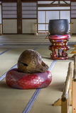 Interior of a buddhist temple in Arashiyama district  in Kyoto,. Kyoto, Japan - June 20 2010: Interior of a buddhist temple in Arashiyama district on June 20 Royalty Free Stock Photography
