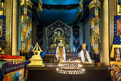 The Interior of the Buddhist temple Stock Photo