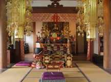 Interior of a buddhist temple Royalty Free Stock Image