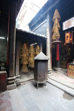Interior of Sam Kai Vui Kun (Kuan Tai Temple) Buddhist temple with insense spirals, Macau Stock Photo