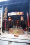 Interior of Sam Kai Vui Kun (Kuan Tai Temple) Buddhist temple with insense spirals, Macau Royalty Free Stock Photography