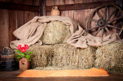 The interior of the building of the village. Wheel, hay, bucket, Stock Photography