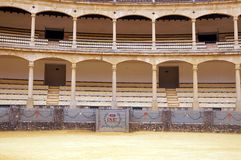 Interior of the bullfight-arena in Ronda, Spain. Stock Images