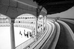 Interior of the bullfight-arena in Ronda, Spain. Stock Image