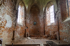 Interior of Burned church of St. Michael in Star Sil, Ukraine. Interior of Burned XVII century  church of St. Michael the Archangel  in Stara Sil - Western Royalty Free Stock Images
