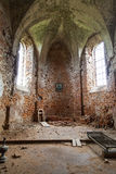 Interior of burned  church of St. Michael in Stara Sil, Ukraine Stock Image