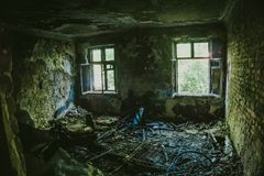 Interior of burnt by fire apartment in an apartment building, can be used as war concept Stock Images