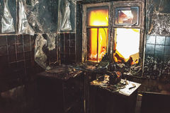 Interior of a burnt room in the house Royalty Free Stock Photography