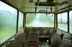 Interior of the bus. Interior of the city bus Stock Photo