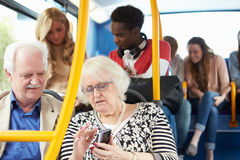 Interior Of Bus With Passengers Royalty Free Stock Photos