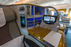 Interior of business class of the world's largest aircraft Airbus A380. Stock Photos