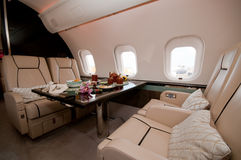 Interior of Business Jet Stock Photo
