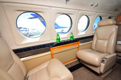 Interior of business jet at Singapore Airshow 2010. Interior of Hawker Beechcraft King Air B200GT aircraft at Singapore Airshow, taken on 03 Feb 2010 stock images