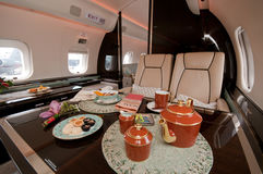 Interior of Business Jet at Singapore Airshow 2010 Royalty Free Stock Photos