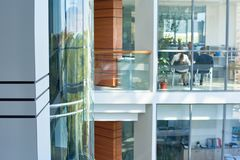 Interior of Busy Office Building Royalty Free Stock Images
