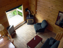 Interior of Cabin. Look down from top floor stock photography