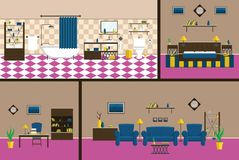 Interior cabinet style mid-century Complete set of furniture and decorations stock illustration