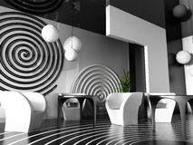 Interior of cafe. Modern interior of cafe in VERDE 3d image Stock Image