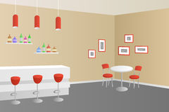 Interior cafe bar coffee shop beige red illustration Stock Photos